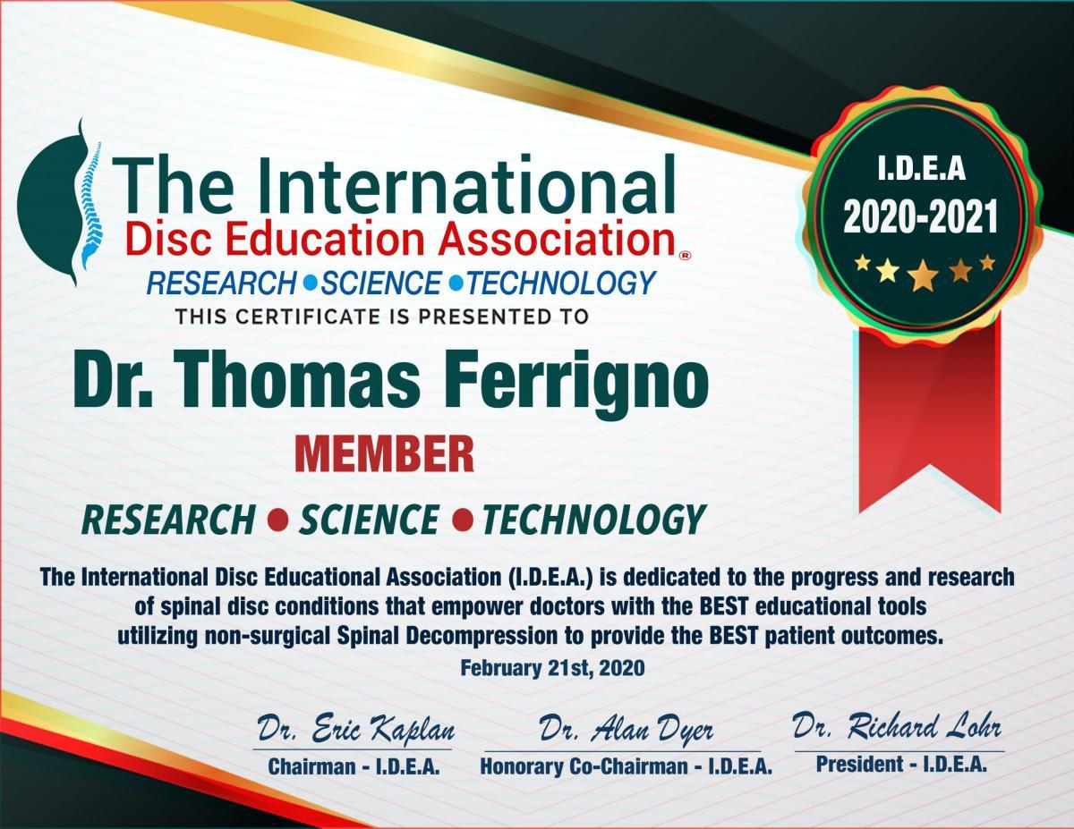Ferrigno IDEA Certificate 2020