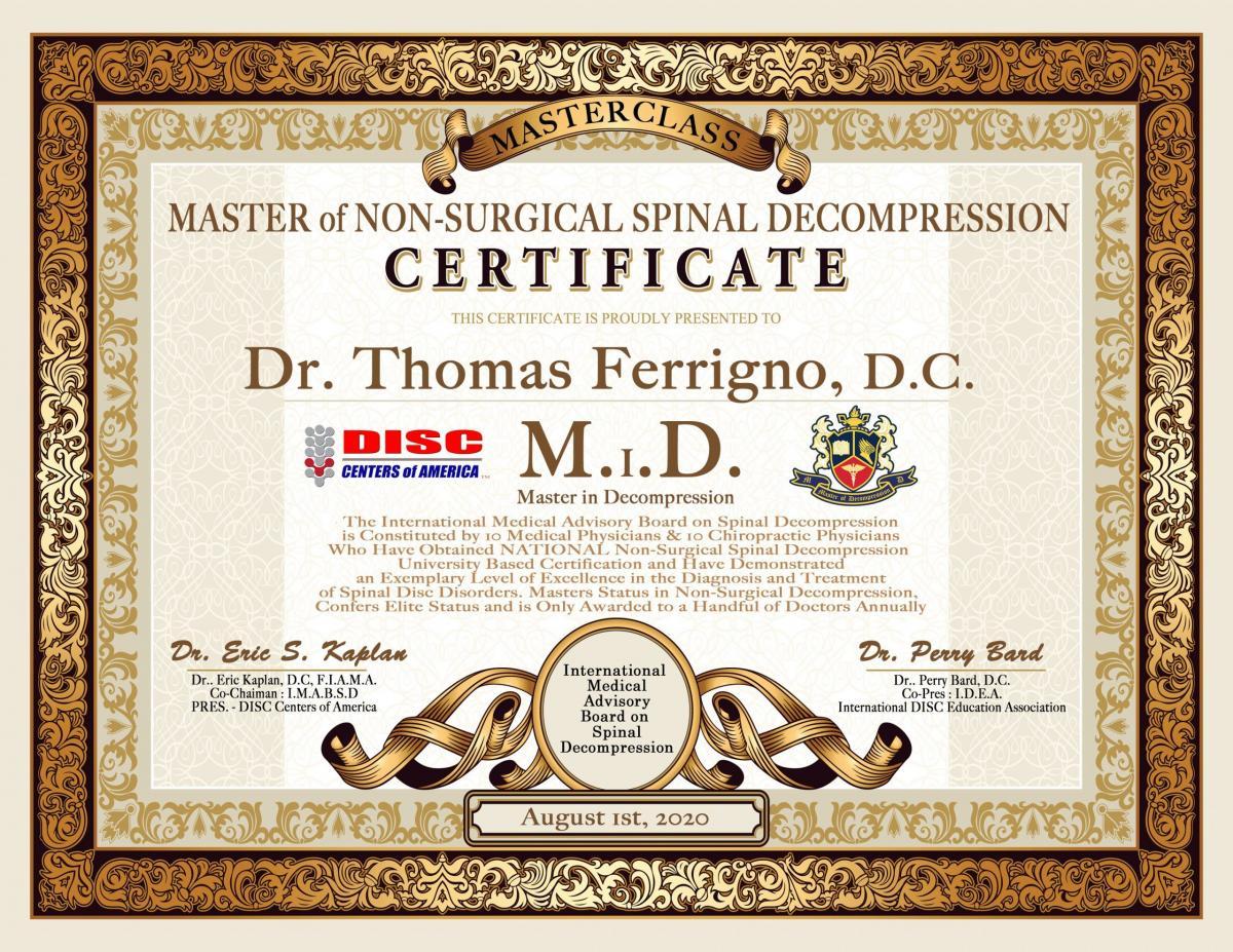 Ferrigno Masterclass Certificate